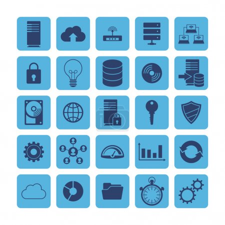 Flat icons of big data analytics